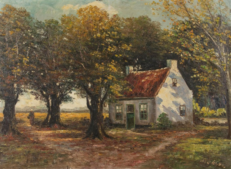 Romantic Mid 20th Century Classic Oil Painting House in the Woods on a Sunny Day For Sale