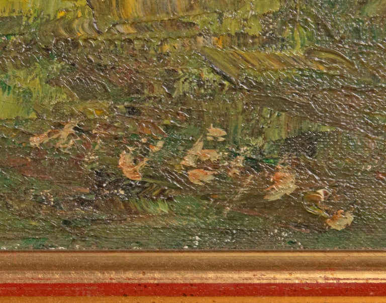 Dutch Mid 20th Century Classic Oil Painting House in the Woods on a Sunny Day For Sale