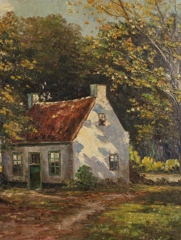 Hand-Painted Mid 20th Century Classic Oil Painting House in the Woods on a Sunny Day For Sale