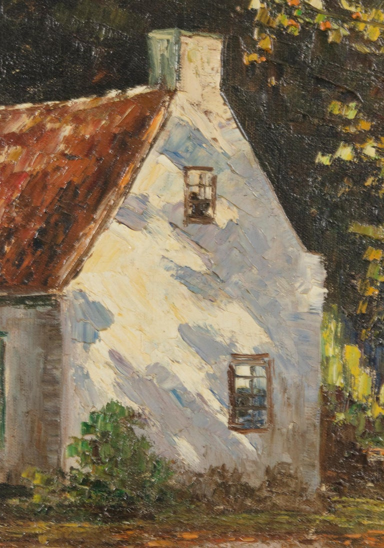 Mid 20th Century Classic Oil Painting House in the Woods on a Sunny Day For Sale 2