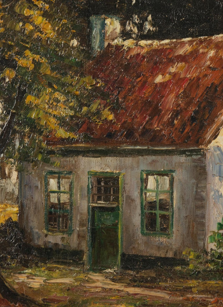 Mid 20th Century Classic Oil Painting House in the Woods on a Sunny Day For Sale 3