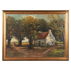 Mid 20th Century Classic Oil Painting House in the Woods on a Sunny Day