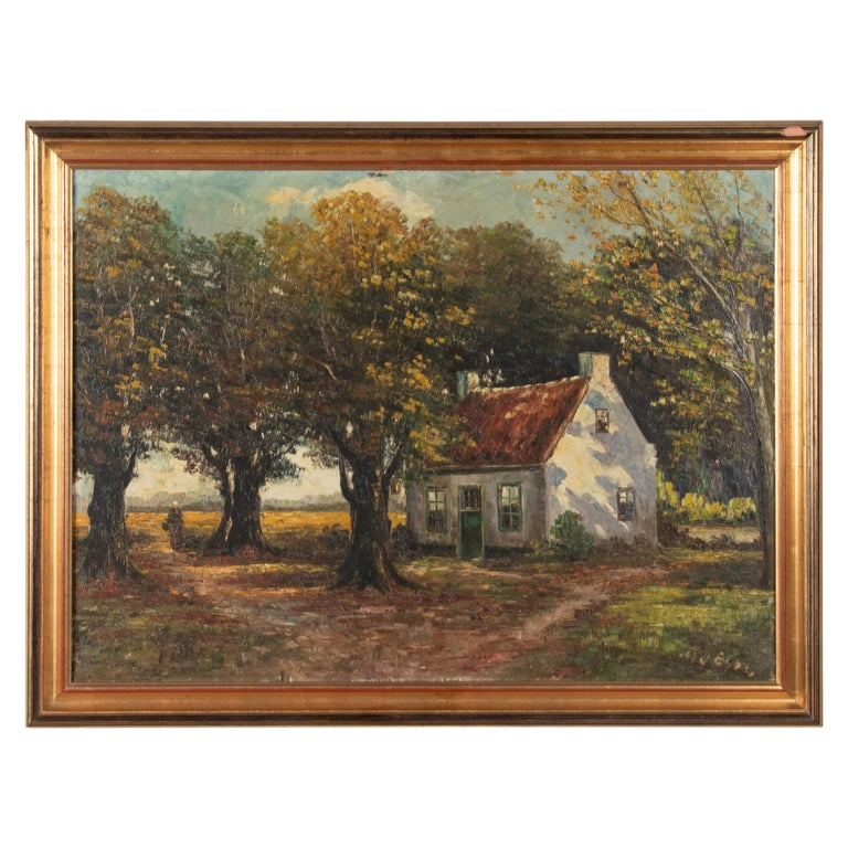 Mid 20th Century Classic Oil Painting House in the Woods on a Sunny Day For Sale