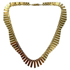 Mid-20th Century Cleopatra Fringe 14 Karat Yellow Gold Necklace, Italian