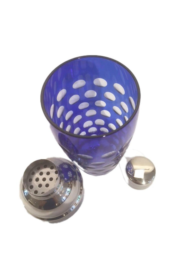 Mid-Century Modern Mid 20th Century Cobalt Cut to Clear Cocktail Shaker with Chrome Top For Sale