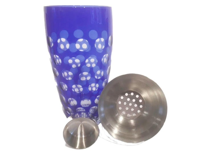 Czech Mid 20th Century Cobalt Cut to Clear Cocktail Shaker with Chrome Top For Sale