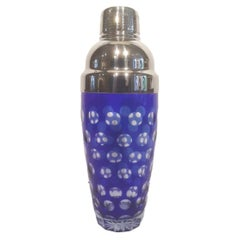 Mid 20th Century Cobalt Cut to Clear Cocktail Shaker with Chrome Top