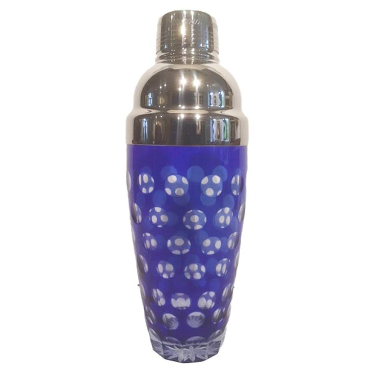 Mid 20th Century Cobalt Cut to Clear Cocktail Shaker with Chrome Top For Sale