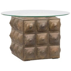 Mid-20th Century Coffee Table with Glass Round Top