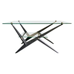 Mid-20th Century Coffee Table with Glass Tiers and Black Frame by Angelo Ostuni