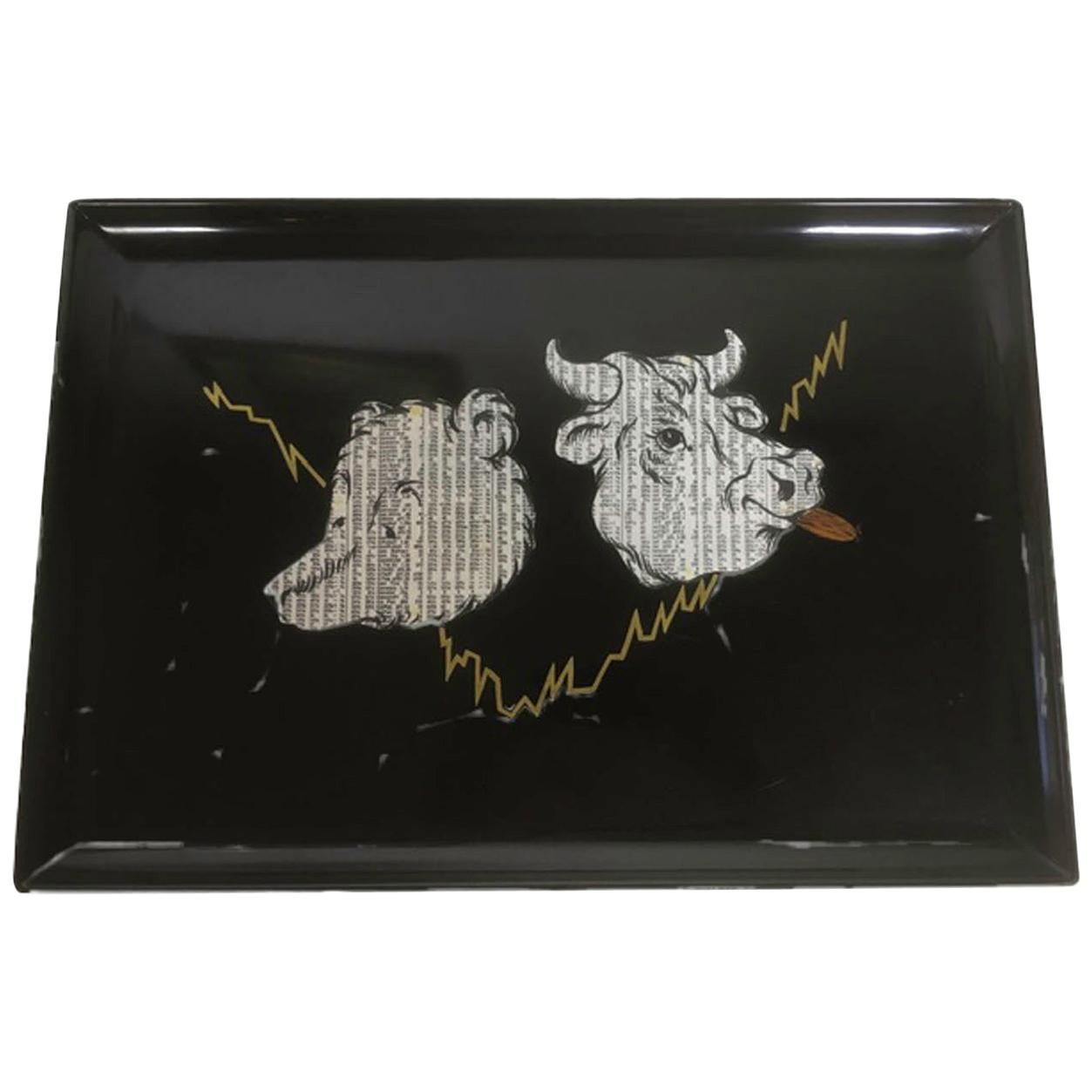 Mid 20th Century Couroc Phenolic Resin Serving Tray, Bull and Bear