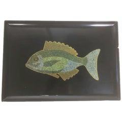 Mid 20th Century Couroc Phenolic Resin Serving Tray, Inlaid Stone & Metal Fish
