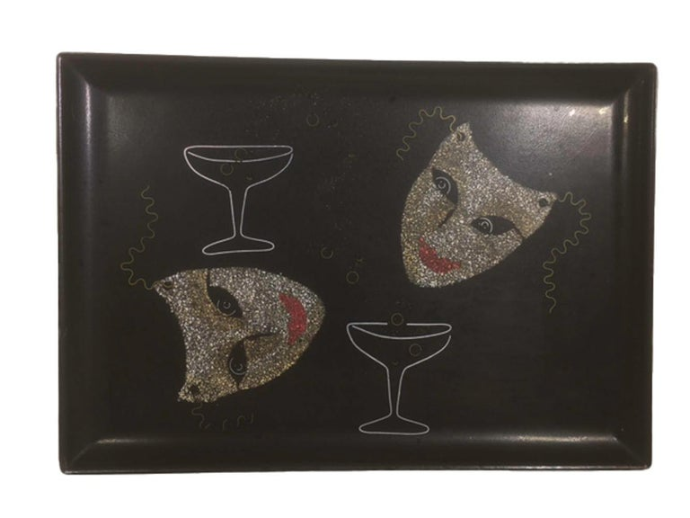 Vintage drinks or serving tray made by Couroc of Monterey, CA. Made of phenolic resin, these trays are resistant to damage by water, alcohol and heat. The craftspeople at Couroc used a combination of materials to inlay the many designs, including