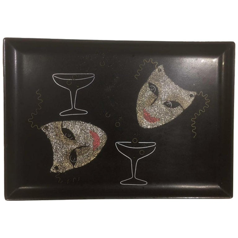 Mid 20th Century Couroc Phenolic Resin Serving Tray, Inlaid Stone & Metal Masks For Sale