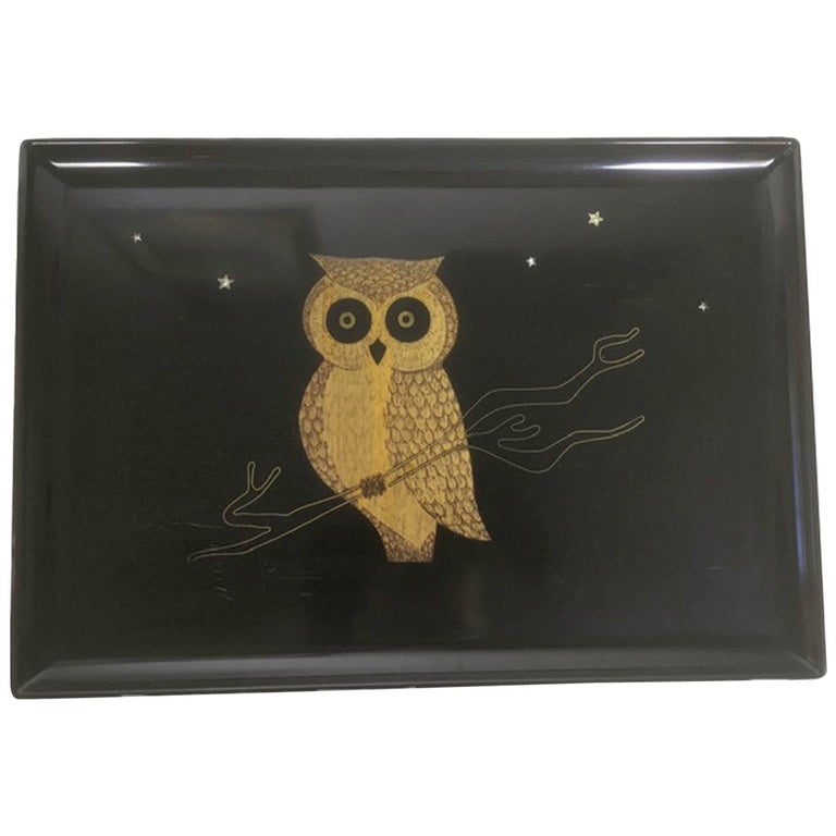 Mid 20th Century Couroc Phenolic Resin Serving Tray, Inlaid Wood and Metal Owl For Sale