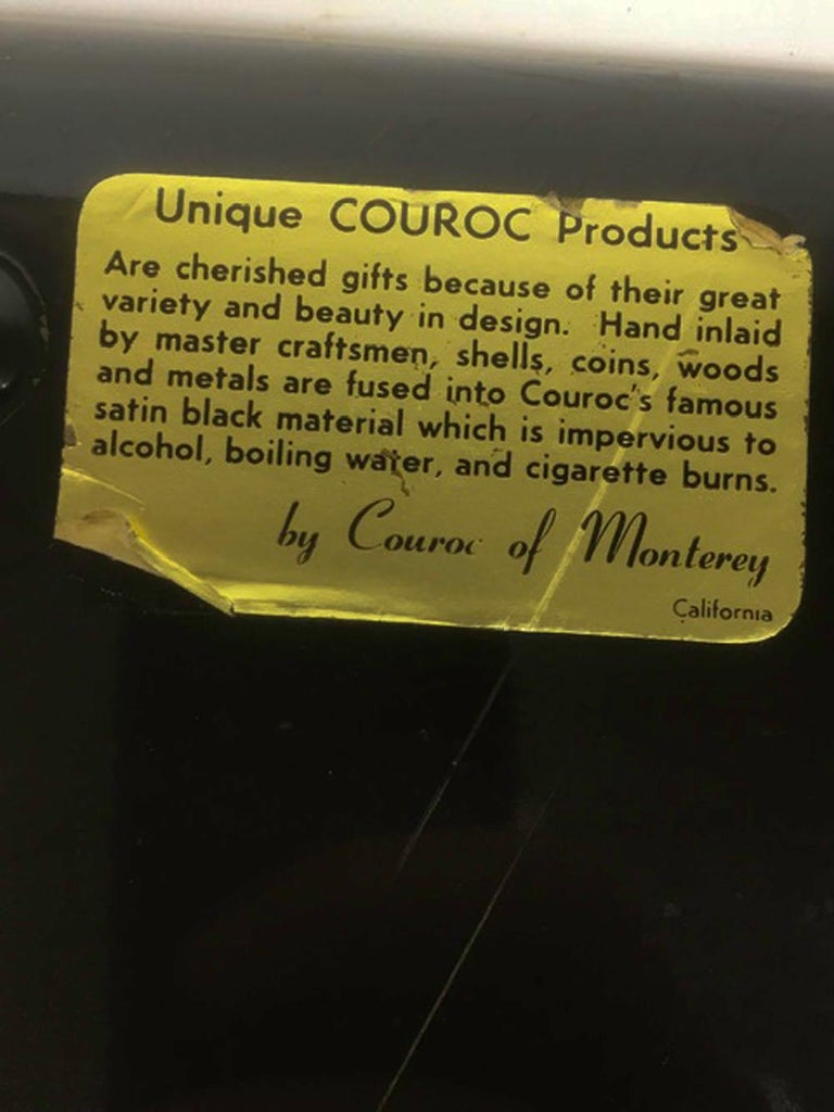 American Mid 20th Century Couroc Phenolic Resin Serving Tray, Wood and Metal Pelican