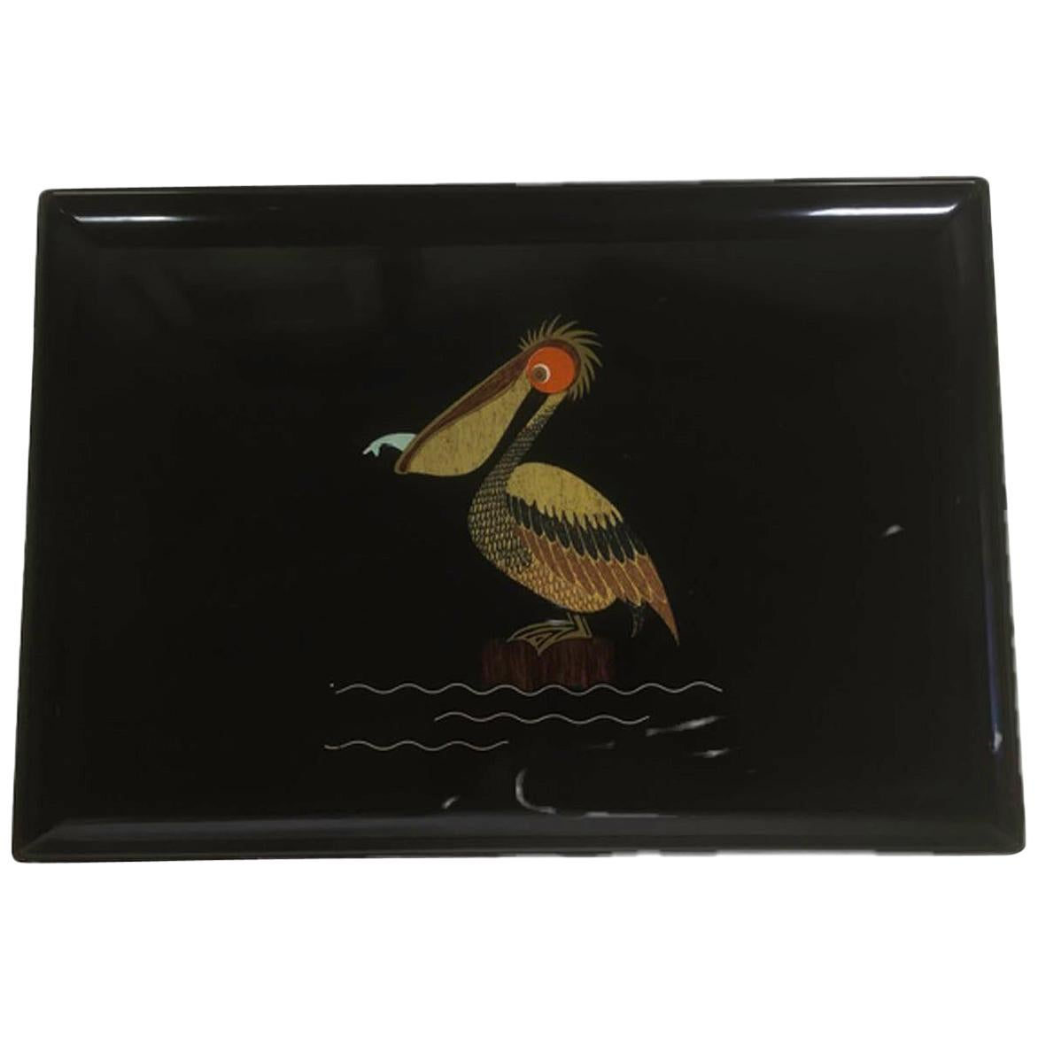 Mid 20th Century Couroc Phenolic Resin Serving Tray, Wood and Metal Pelican