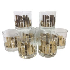 Mid 20th Century Couroc Rocks Glasses with the Word Drink in Gold