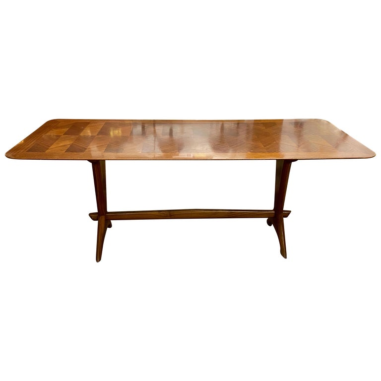 Gordon Russell Cross Banded Mahogany Trestle Base Dining Table, circa 1950s For Sale