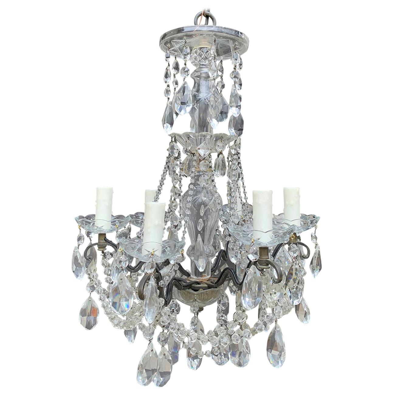Mid-20th Century Crystal and Bronze Six-Arm Chandelier with Prisms