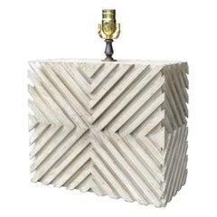 Mid-20th Century Custom Painted Wood Geometric Lamp