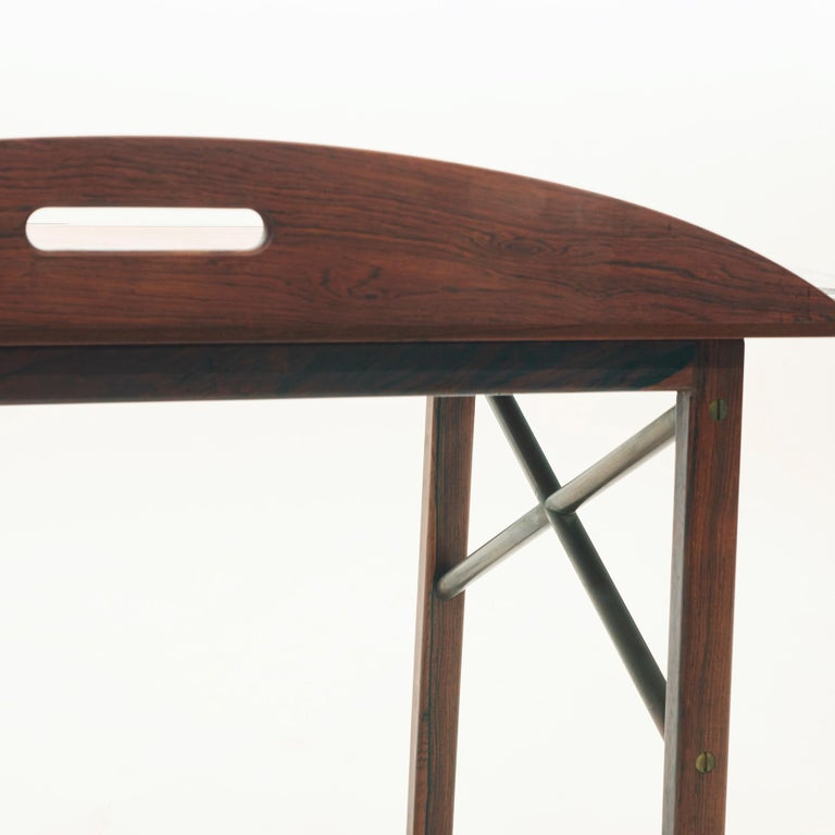 Brass Mid-20th Century Danish Butlers Tray by Svend Langekilde in Rosewood