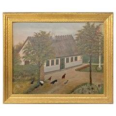 Mid-20th Century Danish Naive Folk-Art Painting