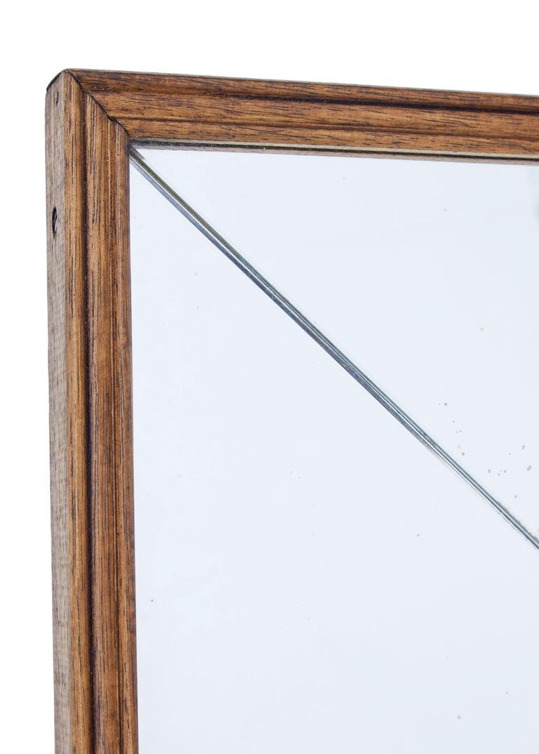 Art Deco Mid-20th Century Deco Style Oak Frame Mirror For Sale