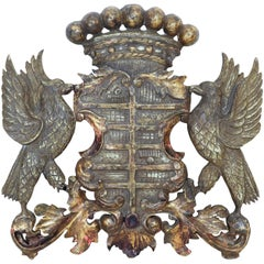 Mid-20th Century Decorative Gilt Carved Coat of Arms