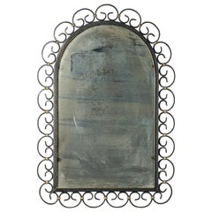 Mid-20th Century Design Mirror with Wrought Iron Frame