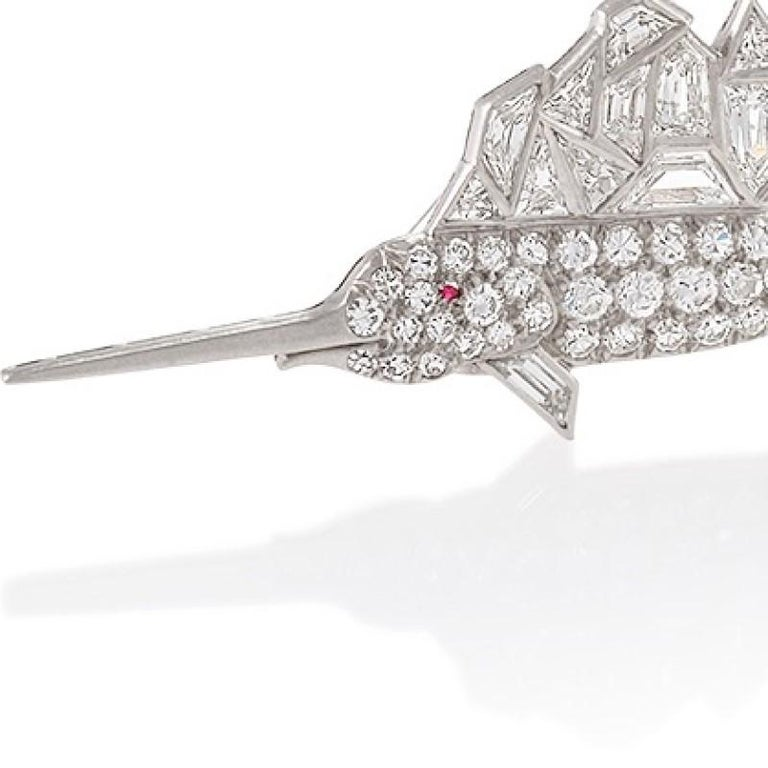 Mixed Cut Mid-20th Century Diamond and Platinum Sailfish Brooch For Sale