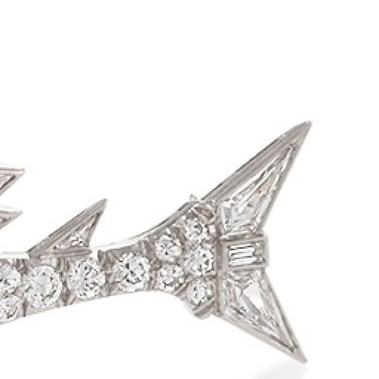 Women's or Men's Mid-20th Century Diamond and Platinum Sailfish Brooch For Sale