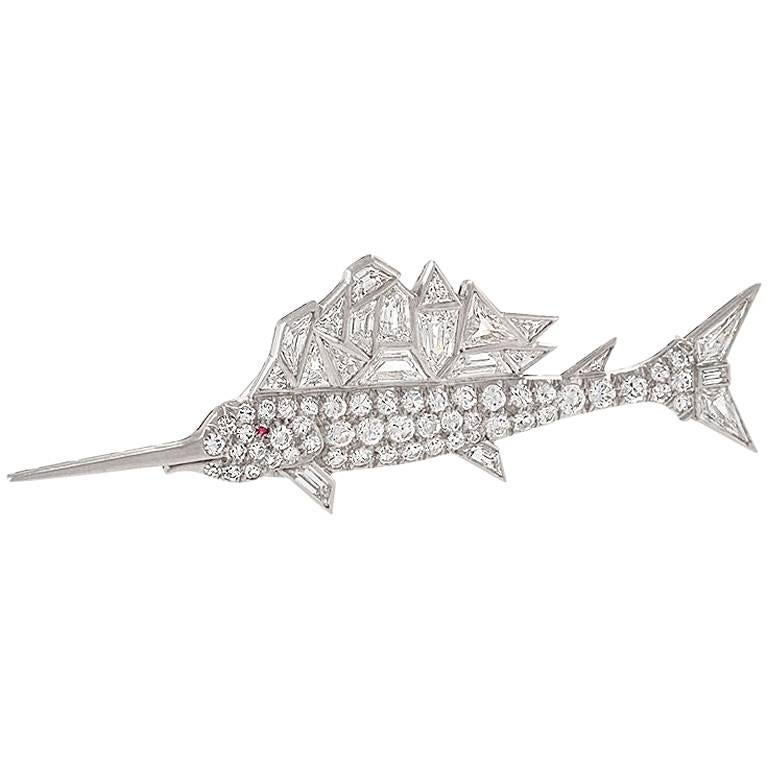 Mid-20th Century Diamond and Platinum Sailfish Brooch For Sale