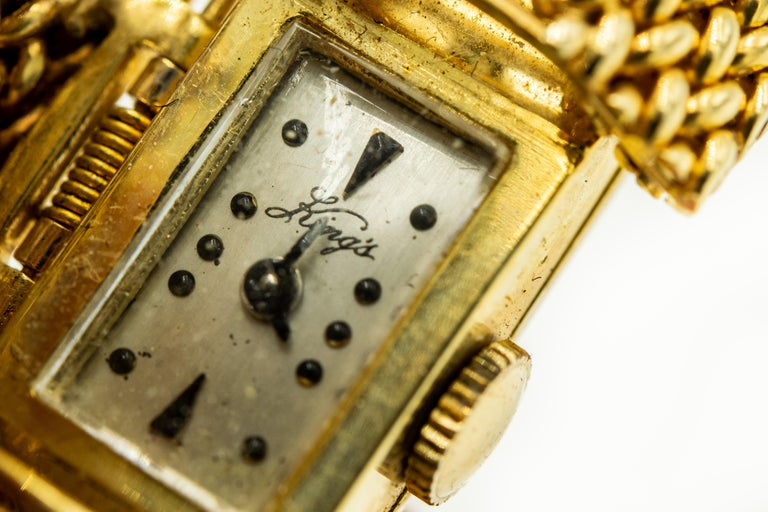 Mid-20th Century Diamond Covered Woven Yellow Gold Ladies Wristwatch Bracelet For Sale 5