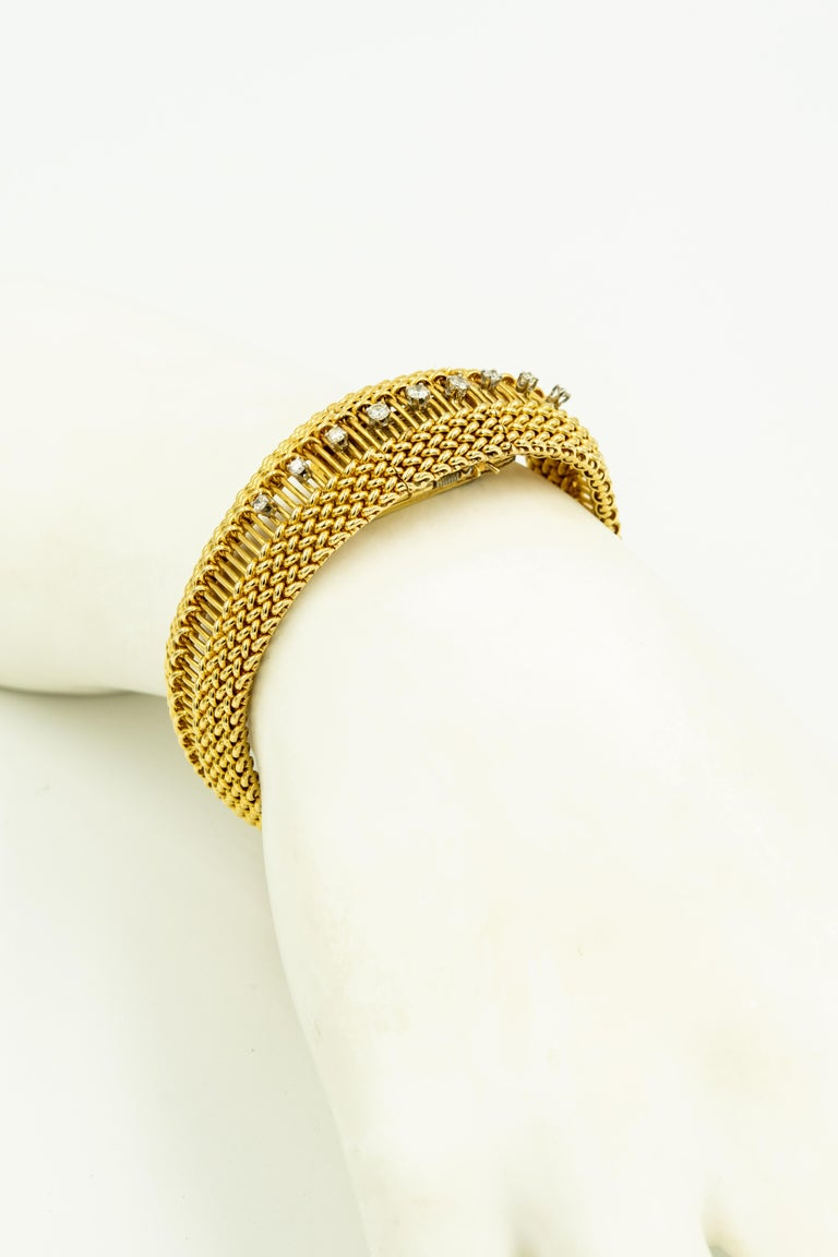 Mid-20th Century Diamond Covered Woven Yellow Gold Ladies Wristwatch Bracelet For Sale 6