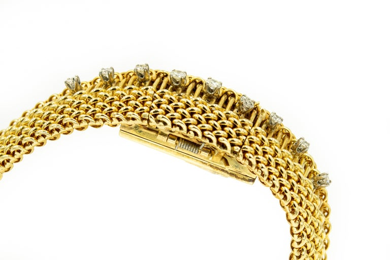 Round Cut Mid-20th Century Diamond Covered Woven Yellow Gold Ladies Wristwatch Bracelet For Sale