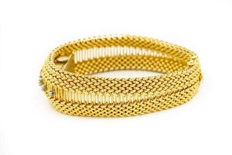 Women's Mid-20th Century Diamond Covered Woven Yellow Gold Ladies Wristwatch Bracelet For Sale