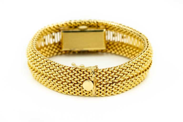Mid-20th Century Diamond Covered Woven Yellow Gold Ladies Wristwatch Bracelet For Sale 1