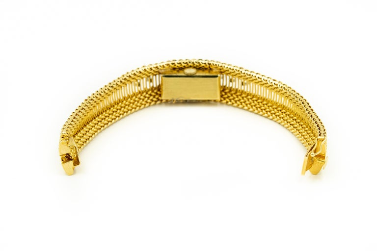 Mid-20th Century Diamond Covered Woven Yellow Gold Ladies Wristwatch Bracelet For Sale 2