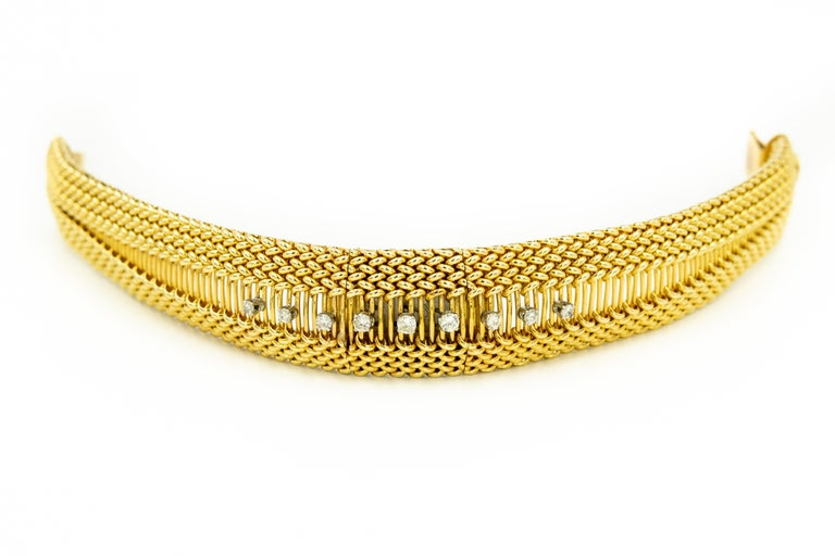 Mid-20th Century Diamond Covered Woven Yellow Gold Ladies Wristwatch Bracelet For Sale 3
