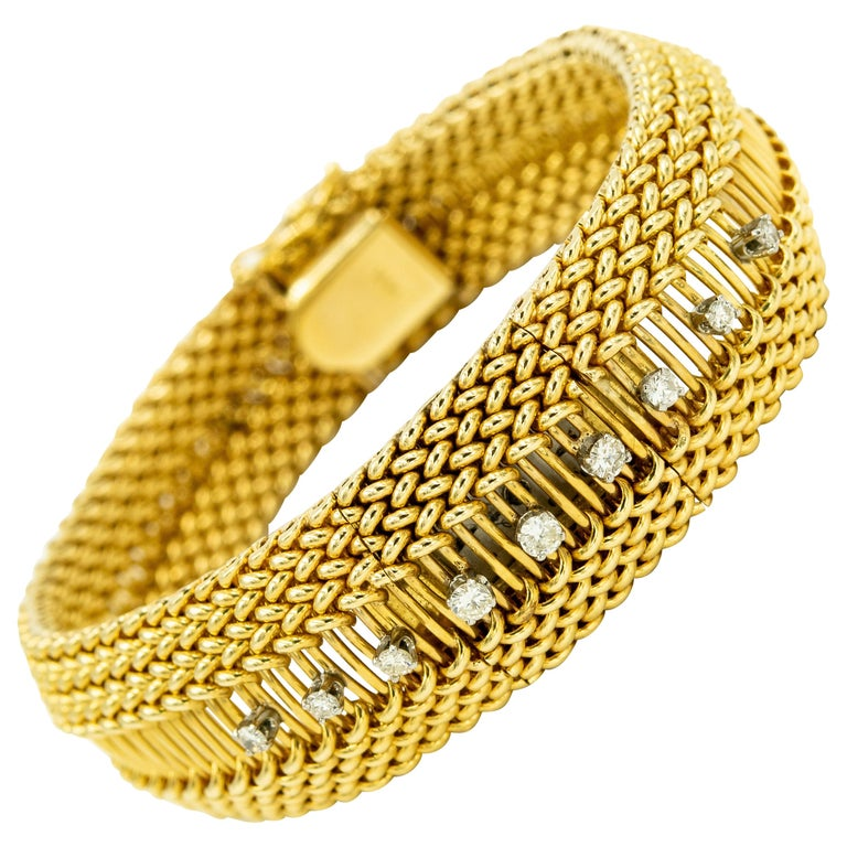 Mid-20th Century Diamond Covered Woven Yellow Gold Ladies Wristwatch Bracelet For Sale