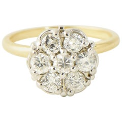 Mid-20th Century Diamond Flower Cluster Gold Ring