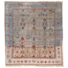 Mid-20th Century Distrssed Century Vintage Mahal Wool Rug