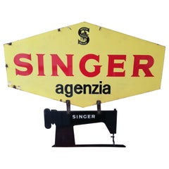 Mid-20th Century Double Side Enamel Italian Textile Machine Singer Sign