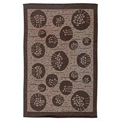 Mid-20th Century Double Sided Botanic Gray Swedish Flat-Weave Wool Rug by Orsa