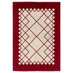 Mid-20th Century Double Sided Burgundy, Ivory Swedish Flat-Weave Wool Rug