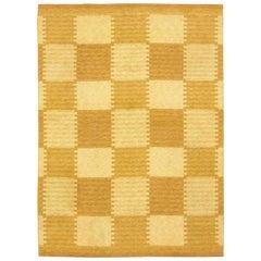 Mid-20th Century Double Sided Mustard Yellow Swedish Flat-Weave Wool Rug