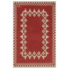 Mid-20th Century Double Sided Swedish Red Flat-Weave Rug Signed with Initials BH