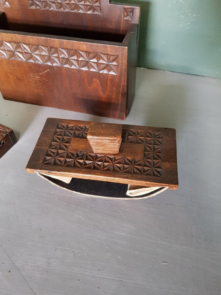 Mid-20th Century Dutch Wooden Desk Set In Good Condition For Sale In Raalte, NL