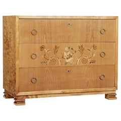 Mid-20th Century Elm and Birch Swedish Grace Chest of Drawers